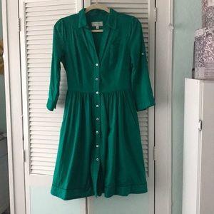 Moulinette Soeurs Green Shirt Dress Sz 4